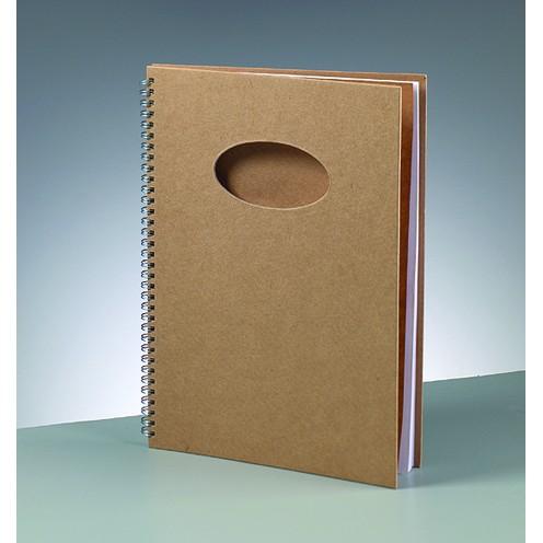 Notizbuch Ausschnitt oval, aus Pappmachè, DIN A4