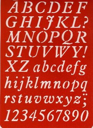 Buchstaben-Schablone ABC Kursivschrift
