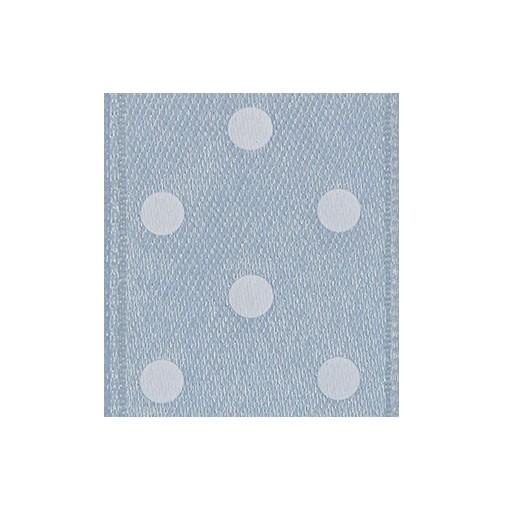 Satinband Punktedruck - doppelseitig, 25mm - altblau