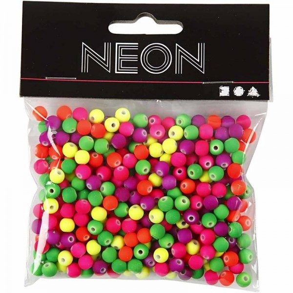 Neonperlen Mix - D: 6 mm, 50g