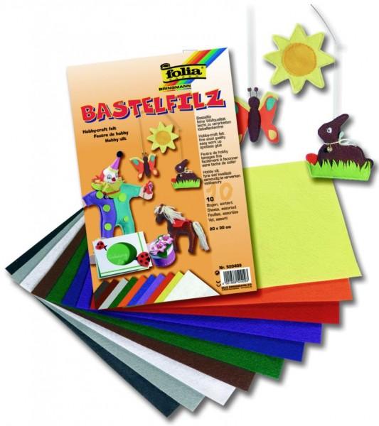 Bastelfilz, 10 Bogen, 1-1,5mm, 20x30cm, farbig sortiert