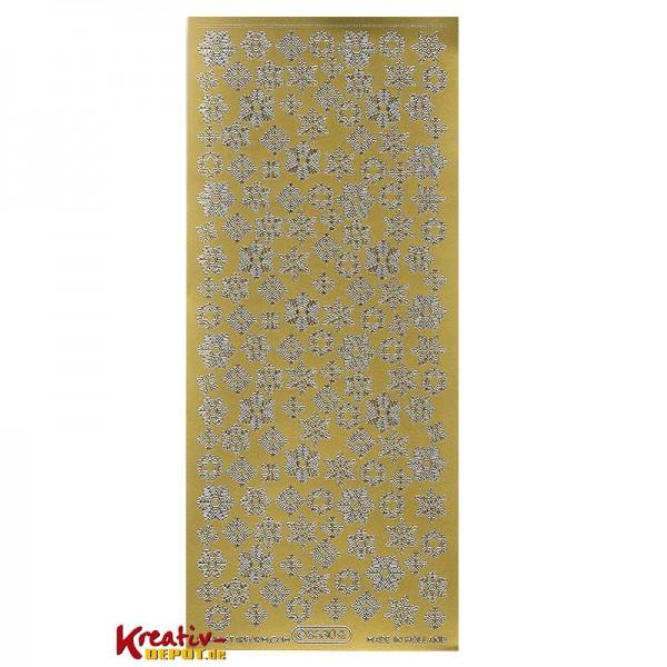 Sticker verschiedene Schneeflocken - gold