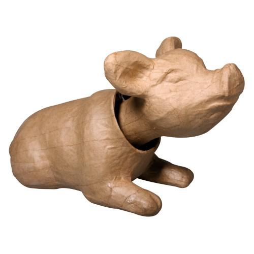 Schwein Hugo, mit Wackelkopf, aus Pappmachè, 19 x 10,5 x 12 cm