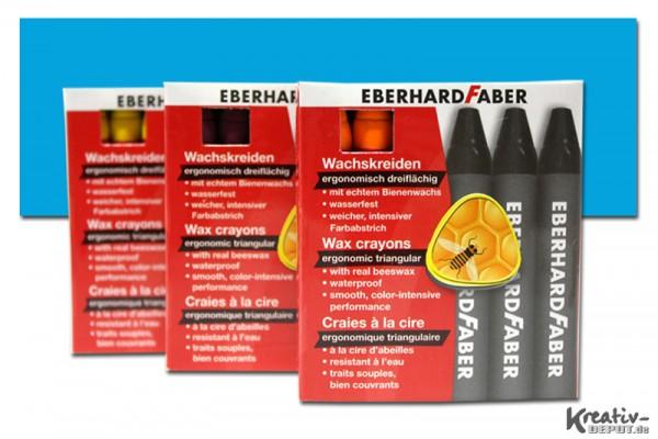 EBERHARD FABER Wachsmalkreiden, 12 Stück, indanthrenblau