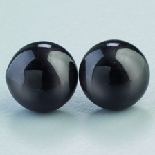 Tieraugen mit Öse, Glas, schwarz, Ø 14 mm, 2 Stück