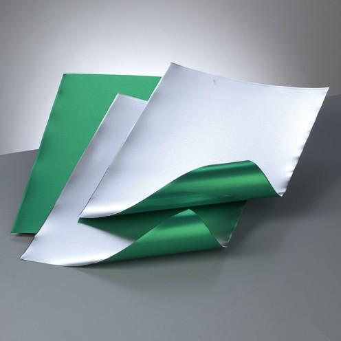 Alu-Metallfolie, 20 x 30cm, 3 Bogen, grün/silber