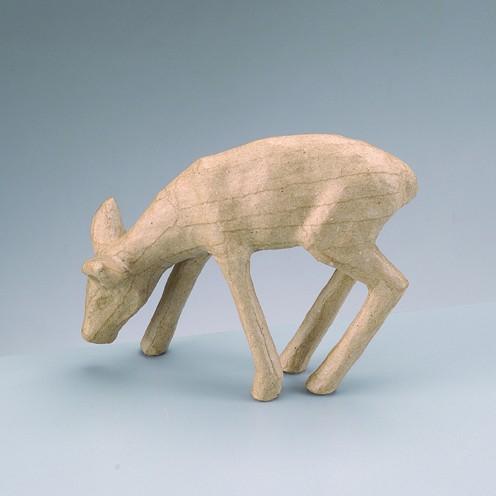 Reh äsend, aus Pappmachè, 14,5 x 4 x 11,5 cm
