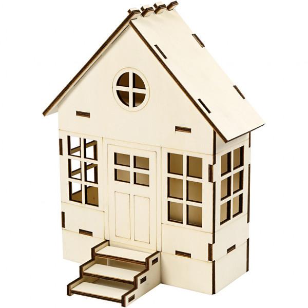 Holzhaus zum Zusammenbauen, H 24 cm, Größe 6x19 cm