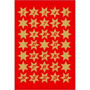 Sticker Adventskalender-Sterne, 1-24, gold