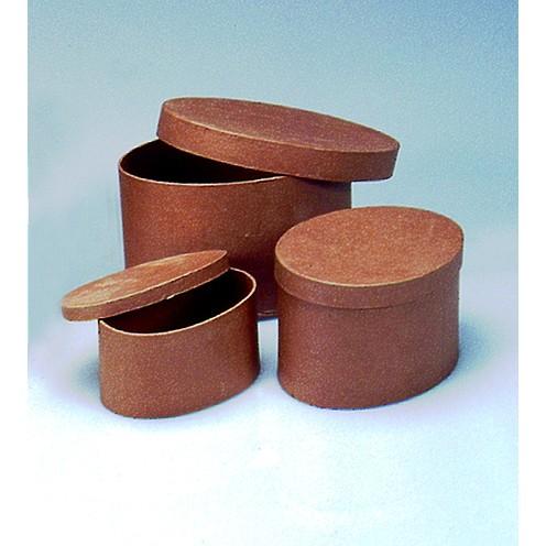Boxen-Set Oval, aus Pappmaché, 3-teilig