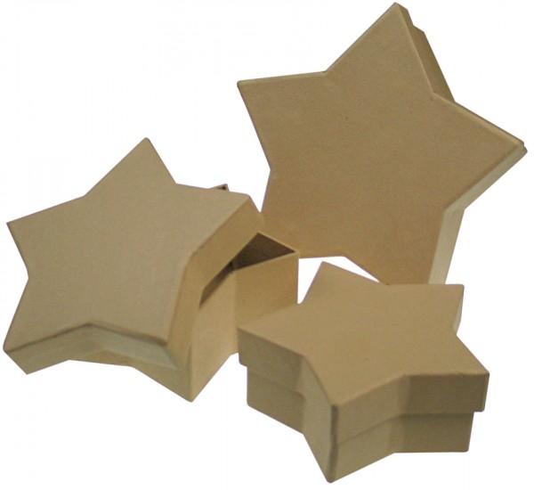 Deckeldose Stern, aus Pappmaché, 3-teilig
