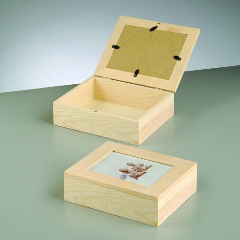 Holzkiste mit Bilderrahmen, 19 x 15,5 x 6 cm