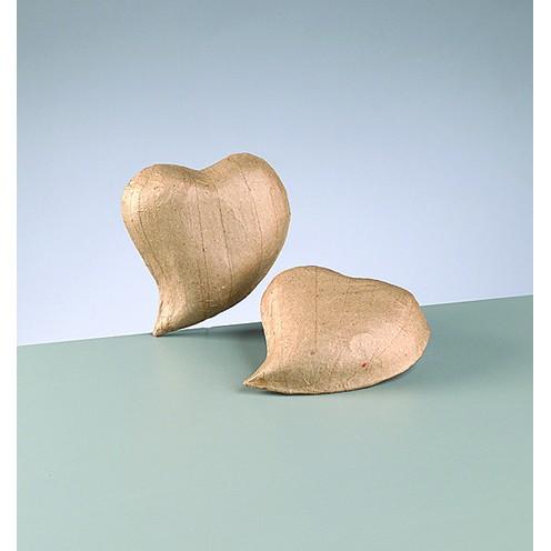 3D-Element Herz geschwungen, aus Pappmachè, 11 x 9,3 x 2,5 cm