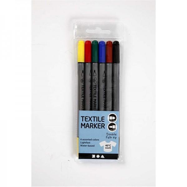 Textilmalstifte, 6 Farben sortiert