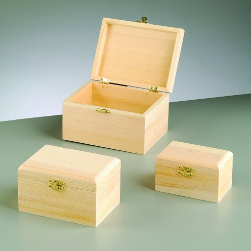 Holzboxen-Set, 3-teilig, 16 x 12 x 9,8 cm