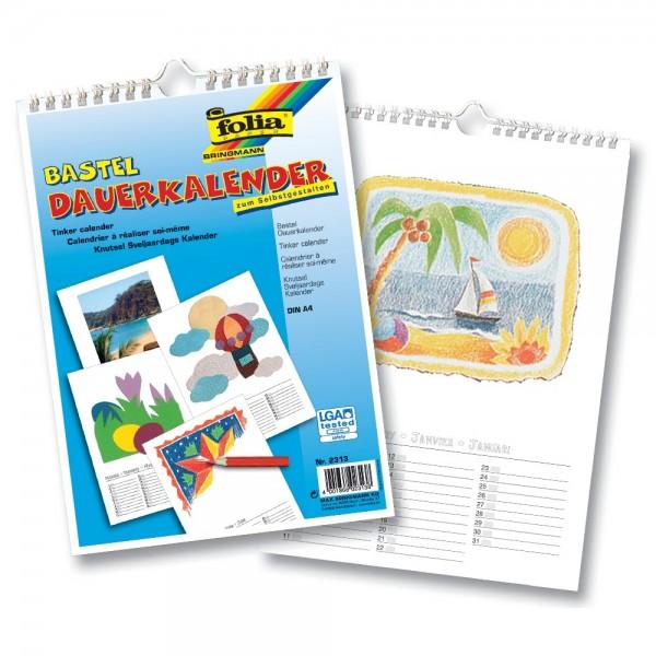 Bastel-Dauerkalender, mit Spiralbindung, weiß, DIN A4