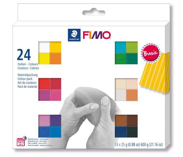 FIMO soft, Farbset, 24 x 25g Blöcke, farbig sortiert