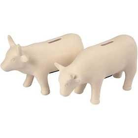 Spardose Kuh aus Terrakotta,2er-Set, 18 x 12 cm, creme