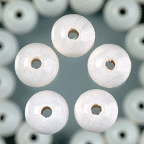 Holzperlen 8mm, 80 Stück - weiß
