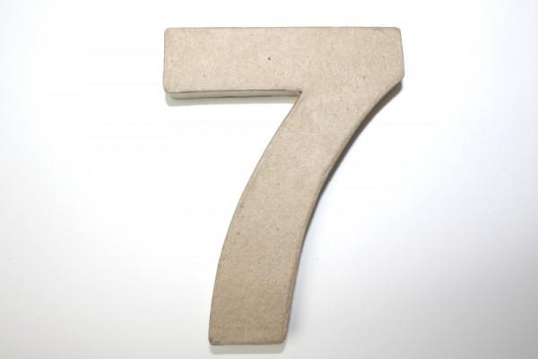 Zahl 7, 10 x 1 cm, aus Pappmachè