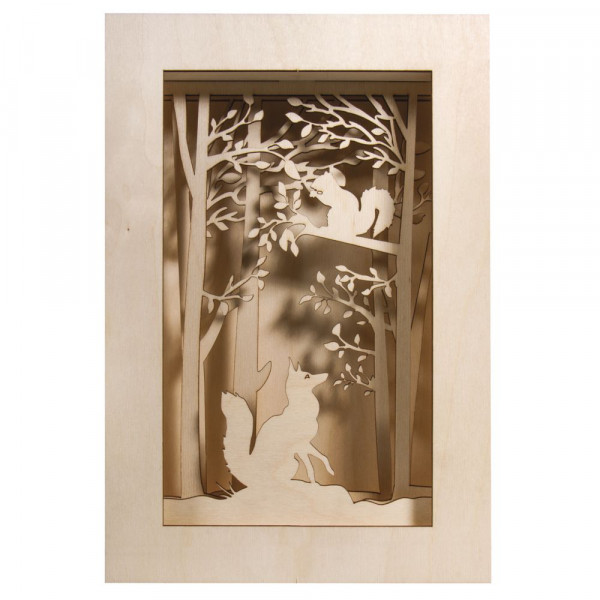Holzbausatz 3D-Motivrahmen, Wald, 20x30x6,6cm
