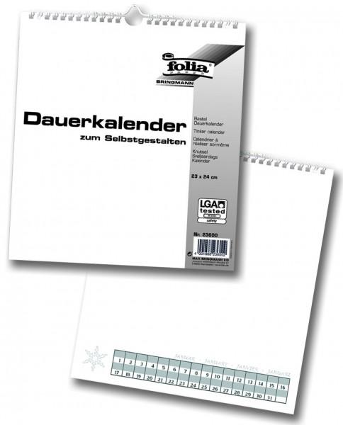 Bastel-Dauerkalender, mit Spiralbindung, weiß, 23 x 24 cm