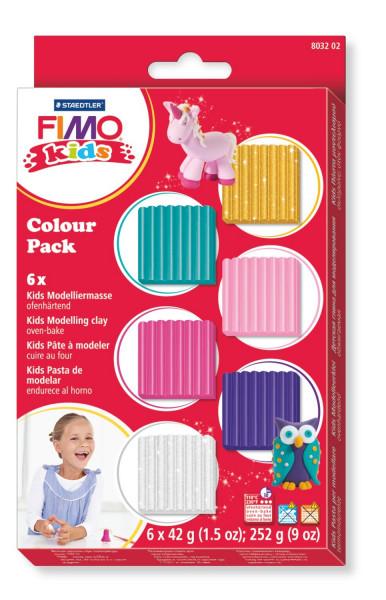 FIMO kids, Farbset, 42 g Blöcke, 4x Standardfarbe, 2x Glitterfarbe