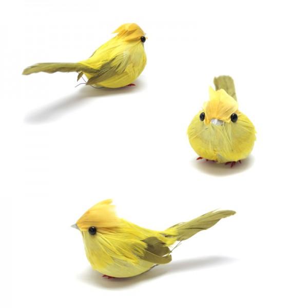 Deko-Vögel, 3 x gelb