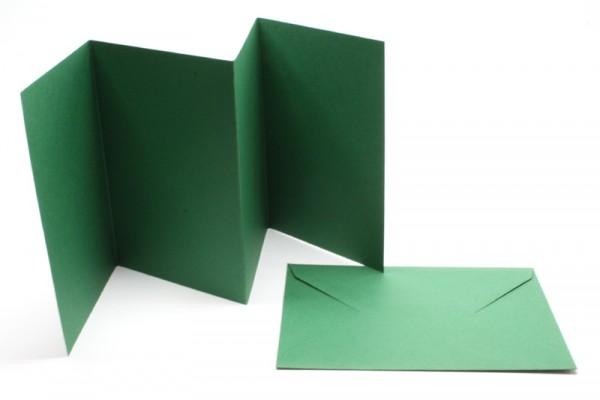 Leporello-Karten, 3 Karten, 3 Kuverts, tannengrün