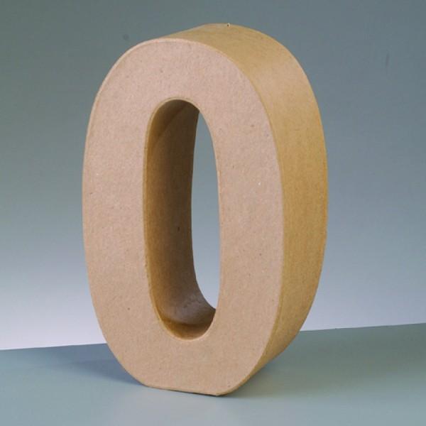Zahl 0, 17,5 x 5,5 cm, aus Pappmachè