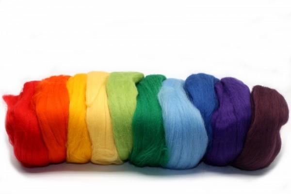 Merino-Filzwolle, Kammzug, 100 g, 10 Regenbogenfarben