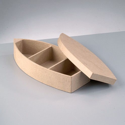 Box Ruderboot, aus Pappmaché, 26 x 12 x 5,3 cm