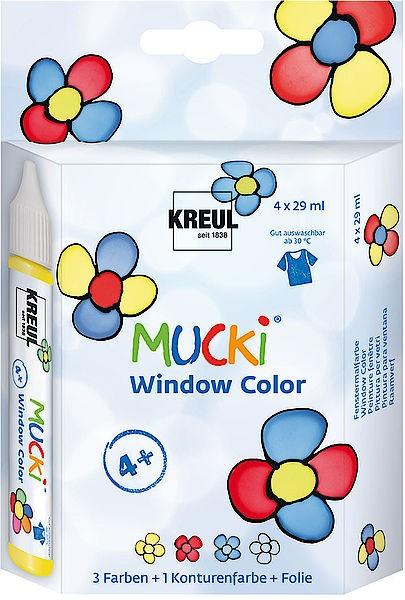 Mucki Window Color Pen, Fenstermalfarbe, 4er-Set