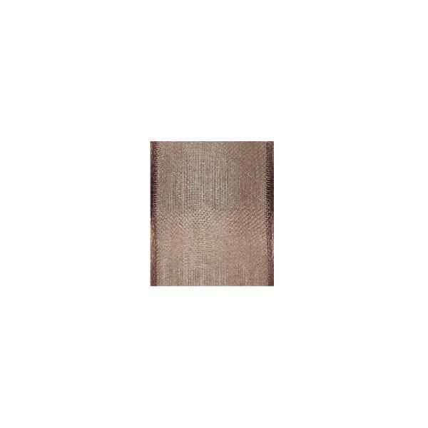 Chiffonband mit Drahtkante, 25mm breit, 5m lang - braun