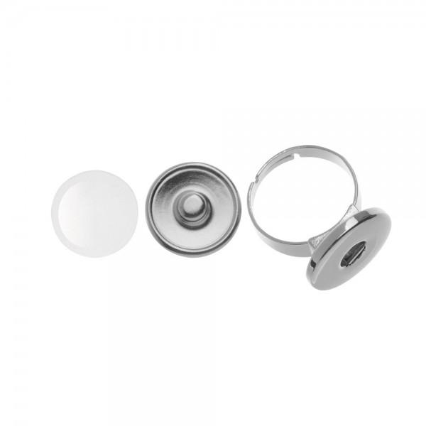 Cabochon + Fingerring, rund ⌀ 18 mm - Druckknopfsystem