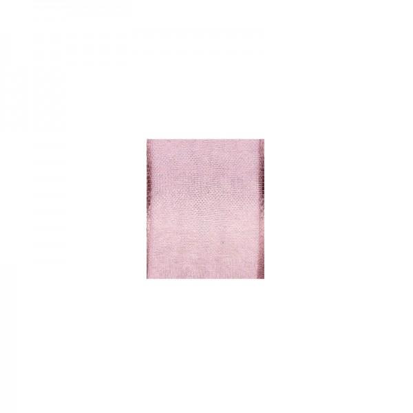 Chiffonband mit Drahtkante, 25mm breit, 5m lang - altrosa