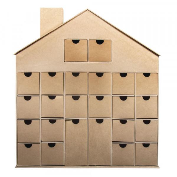 Pappm. Adventskalender Haus mit 24 Schubladen