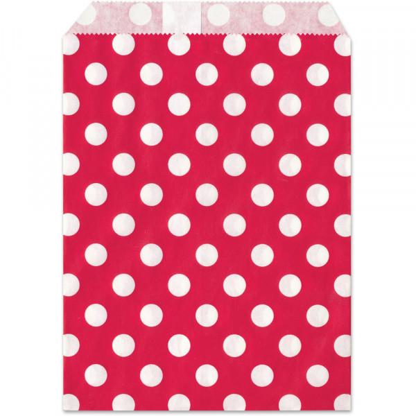 Papier-Geschenktüte, rot, Punkte, 13x16,5cm, 25 Stück