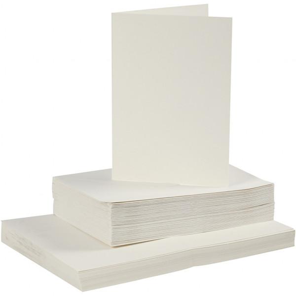 Karten und Kuverts, je 50 Stück, 10,5 x 15 cm, creme