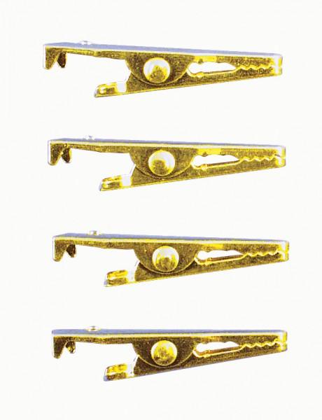 Krokodilklammer, 35 mm, 4 Stück, gold