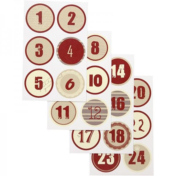 Adventskalenderzahlen-Sticker, 1-24, 4cm Ø