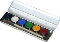 Eulenspiegel Schminkfarben, Metall-Palette, 6 Farben