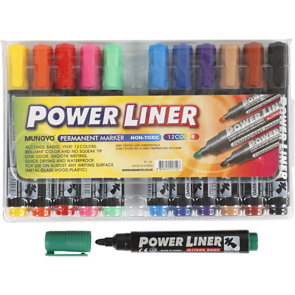 Power Liner Permanent Marker, Strichstärke: 1,5-3 , Sortierte Farben, 12 Stck.