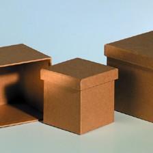 Boxen-Set Quader, aus Pappmaché, 3-teilig