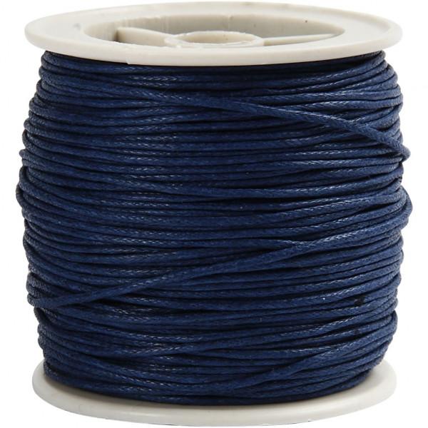 Baumwolllkordel, gewachst, Ø 1 mm, 40 m, blau