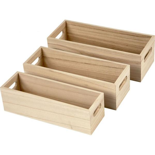 Holzkästen aus Holz, 3er Set