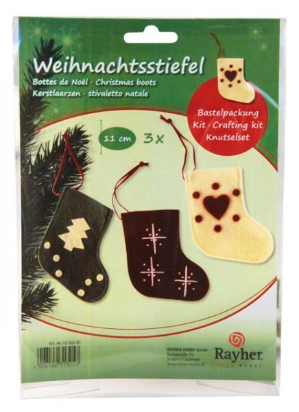 Bastelset Weihnachtsstiefel, 11 cm, 3 Stück