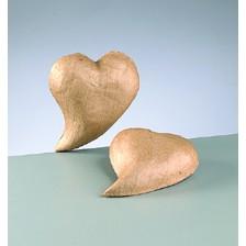 3D-Element Herz geschwungen, aus Pappmachè, 15,5 x 11,5 x 3 cm