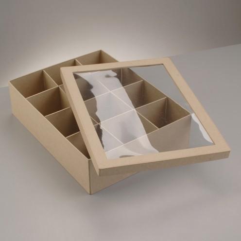 Boxen-Set Rechteck, mit Sichtfenster, aus Pappmachè, 6-teilig
