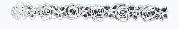 Wachsborte , 24 cm, Rosen, silber